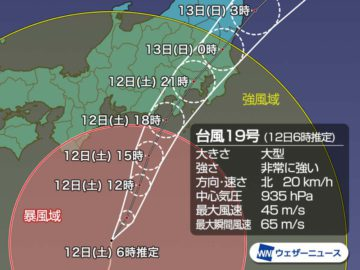 大型台風が接近中!